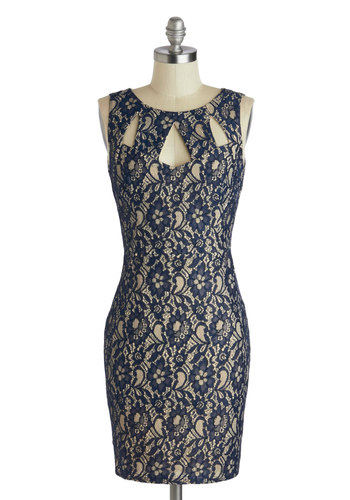 Across the Table Dress - Mid-length, Blue, Backless, Lace, Party, Bodycon / Bandage, Sleeveless, Scoop, Tan / Cream, Cutout, Wedding, Cocktail, Girls Night Out, Mini
