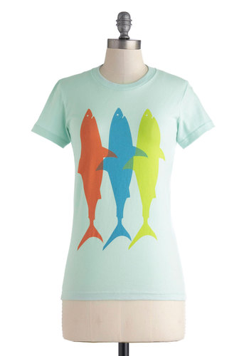 Best Fins Forever Tee - Mid-length, Mint, Multi, Print with Animals, Casual, Nautical, Short Sleeves, Jersey, Cotton, Crew, Blue, Short Sleeve