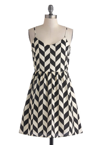 Haute Like a Lamb Dress - Mid-length, Black, White, Chevron, Party, A-line, Spaghetti Straps