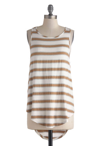 Morning Cup of Coffee Top - Mid-length, Tan / Cream, White, Stripes, Casual, Beach/Resort, Racerback, Summer, Scoop