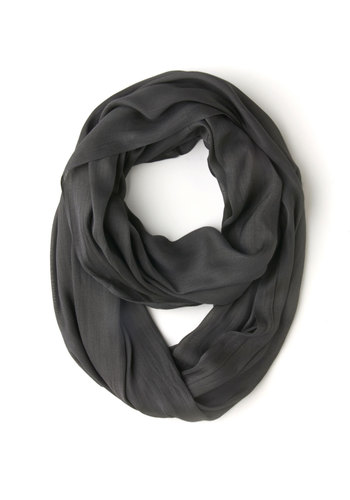 Brighten Up Circle Scarf in Smoke - Grey, Solid, Casual, Variation, Basic, Fall