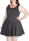 Something to Dot About Dress in Black - Plus Size - White, Polka Dots, Party, A-line, Tank top (2 thick straps), Scoop, Black, Casual, Daytime Party, Summer, Variation