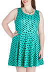Something to Dot About Dress in Mint - Plus Size - Mint, Black, Polka Dots, Party, A-line, Tank top (2 thick straps), Scoop, Casual, Summer, Variation