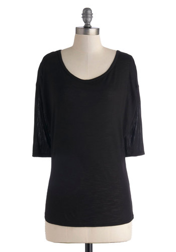 Covering All the Basics Top in Black - Mid-length, Black, Solid, Casual, Travel, Minimal, 3/4 Sleeve, Sheer, Variation, Scoop, Basic, Black, 3/4 Sleeve