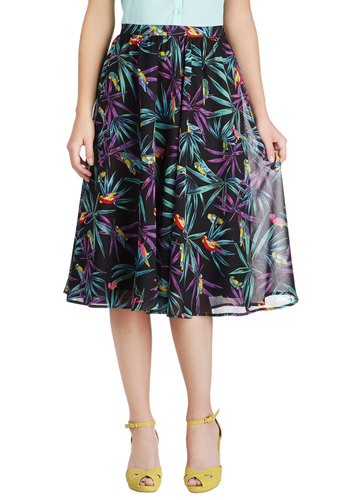 Singin' in the Rainforest Skirt by Bettie Page - Black, Green, Purple, Floral, Casual, A-line, Long, Print with Animals, Daytime Party, Summer
