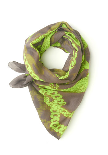 Chain of Eventful Scarf - Grey, Yellow, Print, Neon, Sheer, Statement
