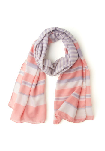 Surely You Must Scarf - Stripes, Sheer, Pink, Purple, White, Pastel, Basic
