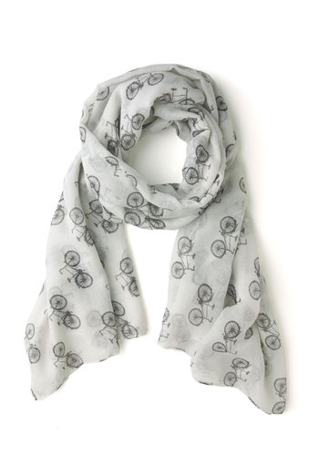 It Takes Two-Wheel Scarf - White, Black, Novelty Print, Sheer