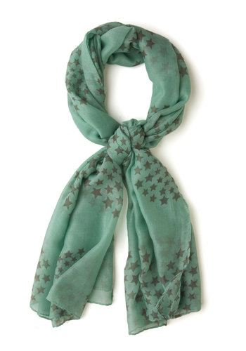 Alpine Outlook Scarf - Mint, Black, Print, Sheer