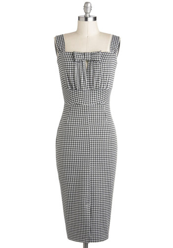 Nifty Newsprint Dress by Stop Staring! - Black, Houndstooth, Bows, Sleeveless, Long, White, Backless, Sheath / Shift, Cutout, Party, Daytime Party, Pinup, Vintage Inspired, 50s, 60s