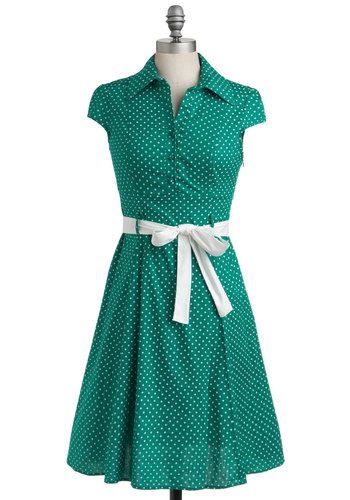 Hepcat Dress in Clover - Green, White, Polka Dots, Pleats, Casual, A-line, Cap Sleeves, Shirt Dress, Rockabilly, Vintage Inspired, 40s, 50s, Show On Featured Sale, Mid-length, Print, Best Seller, Work, Variation, Pinup, Cotton, Top Rated