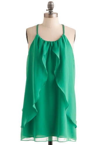 Shamrock Wave Dress - Short, Green, Solid, Party, Shift, Spaghetti Straps, Ruffles, Summer, Prom