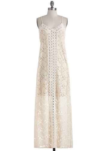 Poetry Department Dress - Tan / Cream, White, Print, Party, Maxi, Spaghetti Straps, Summer, Long, Cream, Crochet, Wedding, Fairytale, French / Victorian, Sheer, Beach/Resort, Bride