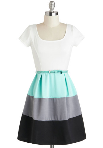 Something to Celebrate Dress - Colorblocking, Blue, Black, Grey, White, Belted, Casual, Fit & Flare, Short Sleeves, Scoop, Spring, Summer, Short, Knit
