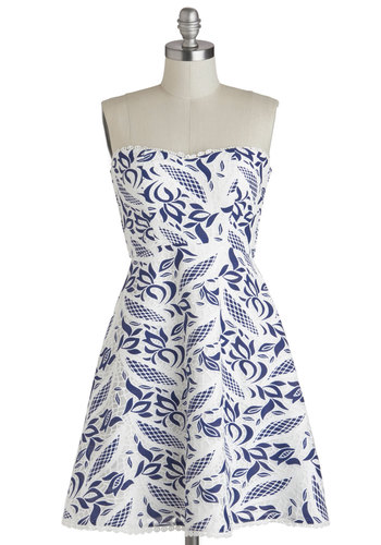 Color, Texture, Flatter Dress - Short, Blue, White, Print, Party, Fit & Flare, Strapless, Sweetheart, Wedding, Summer, Daytime Party, Floral
