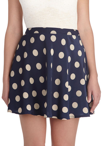 Cool, Casual, and Collected Skirt - Blue, Polka Dots, Vintage Inspired, A-line, Casual, Short, Blue