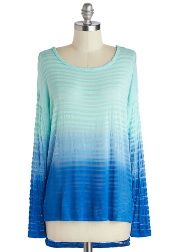 Blouse of the Rising Sun Top - Blue, Ombre, Casual, Long Sleeve, Mid-length, Travel, Sheer, Scoop