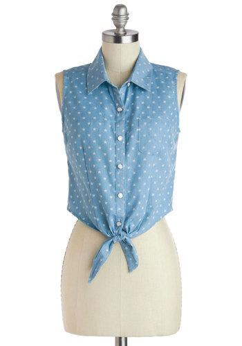 Near and Star Top - Short, Blue, White, Print, Buttons, Pockets, Casual, Cropped, Button Down, Sleeveless, Summer, Collared