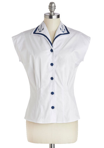 Got All the Anchors Top - Mid-length, Cotton, White, Blue, Solid, Buttons, Nautical, Rockabilly, Pinup, Vintage Inspired, Cap Sleeves, Collared, Embroidery, Trim, Casual, 40s, 50s, 60s, Button Down, Summer