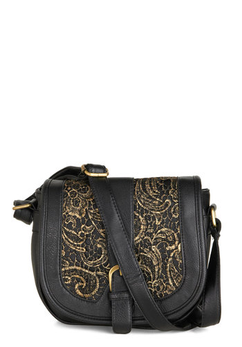 Filigree Finale Bag - Faux Leather, Black, Gold, Solid, Buckles, Lace