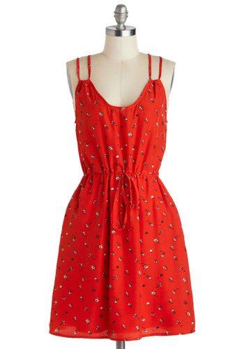 Plays Awheel with Others Dress by Tulle Clothing - Mid-length, Red, Black, White, Floral, Belted, Casual, A-line, Scoop, Pockets, Fruits, Spaghetti Straps, Summer