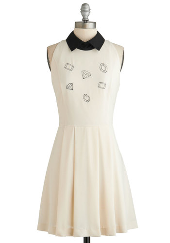 Sweet Setting Dress - Mid-length, Cream, Black, Embroidery, Casual, A-line, Sleeveless, Collared, Exclusives