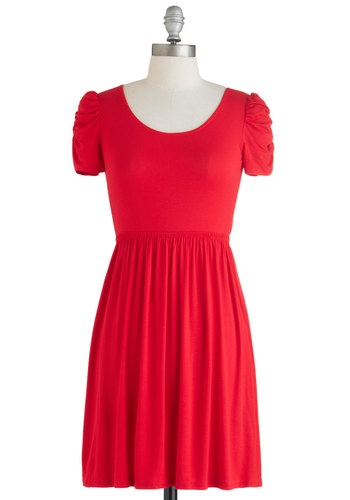 Best Dressed Rehearsal Dress - Short, Red, Solid, Cutout, Ruching, Party, A-line, Short Sleeves, Scoop, Girls Night Out, Minimal, Summer, Exclusives, Valentine's