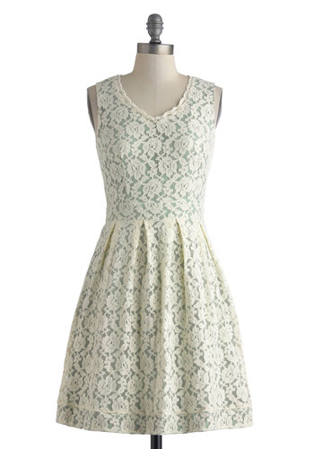 Everlasting Impression Dress - Mid-length, Cream, Mint, Lace, Pockets, Party, A-line, Sleeveless, V Neck, Graduation