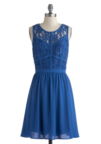 Trellis Your Secret Dress - Sheer, Mid-length, Blue, Solid, Lace, Party, A-line, Sleeveless, Scoop, Girls Night Out