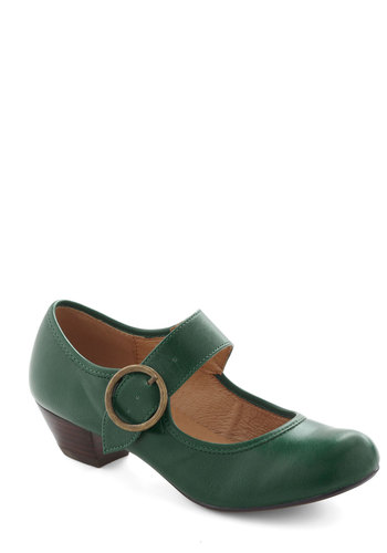 Few Steps Forward Heel in Pine by Chelsea Crew - Green, Solid, Low, Work, Vintage Inspired, 20s, 30s, Faux Leather, Mary Jane