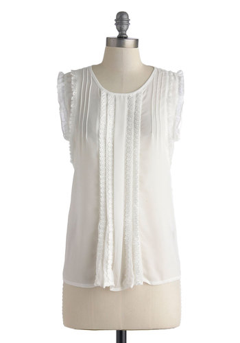 Dainty She Sweet? Top - Sheer, Mid-length, White, Solid, Lace, Pleats, Work, Daytime Party, Sleeveless, Ruffles, Scoop