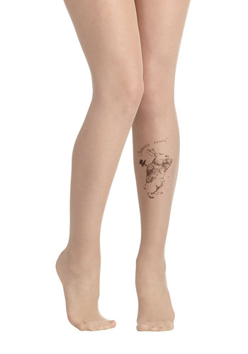 Follow Request Tights - Tan, Black, Print with Animals, Fairytale, Quirky, Sheer