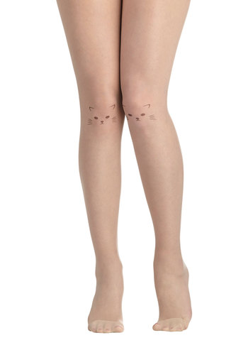 Purr Happiness Tights - Tan, Black, Print with Animals, Quirky, Sheer, Cats, Halloween