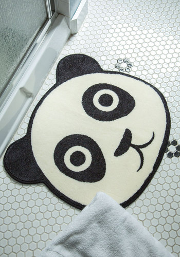 Softie at Hearth Rug - Black, Kawaii, White, Print with Animals, Good