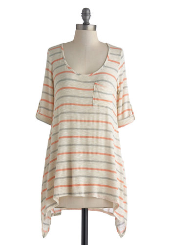 Breezy to Come By Top in Coral and Grey - Cream, Grey, Stripes, Pockets, Casual, Short Sleeves, Mid-length, Sheer, Coral, Travel, Variation, Scoop, Gifts Sale, White, Tab Sleeve
