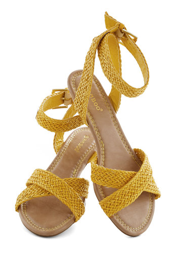 Weave Got the Beat Wedge - Yellow, Woven, Daytime Party, Low, Wedge, Summer, Solid, Vintage Inspired