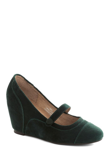 Worth a Thousand Whirls Wedge by Jeffrey Campbell - Green, Solid, Suede, Wedge, Mary Jane, Mid, Leather, Work, Vintage Inspired, 20s, 30s