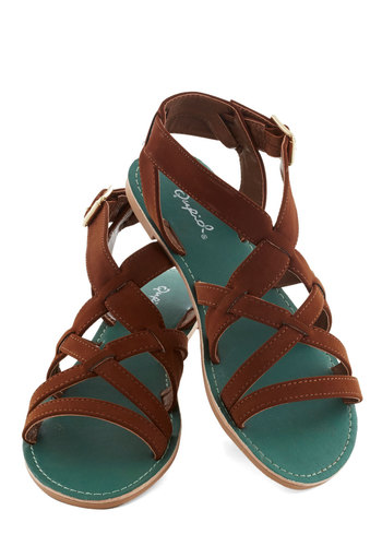 We Meet Again Sandal - Flat, Faux Leather, Brown, Boho, Summer, Good, Solid