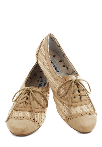 Basket Brunch Flat in Cream - Tan, Woven, Menswear Inspired, Flat, Lace Up, Solid, Casual, Variation