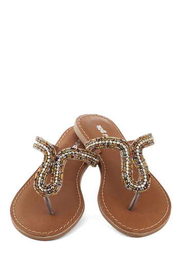 Bead Who You Are Sandal - Bronze, Multi, Beads, Beach/Resort, Boho, Summer, Flat, Casual, Leather, Good