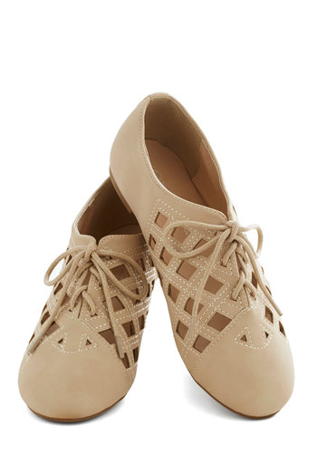 Follow My Liège Flat - Tan, Solid, Cutout, Flat, Lace Up, Casual, Spring, Summer, Faux Leather