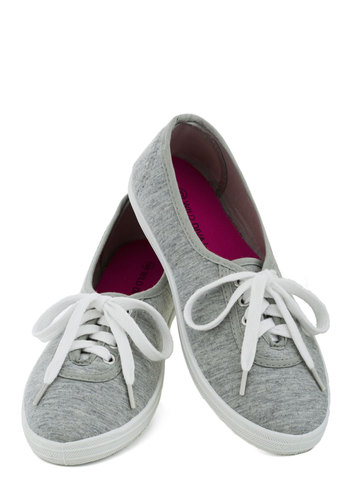 Let's Get Easygoing Sneaker - Grey, White, Flat, Lace Up, Solid, Casual