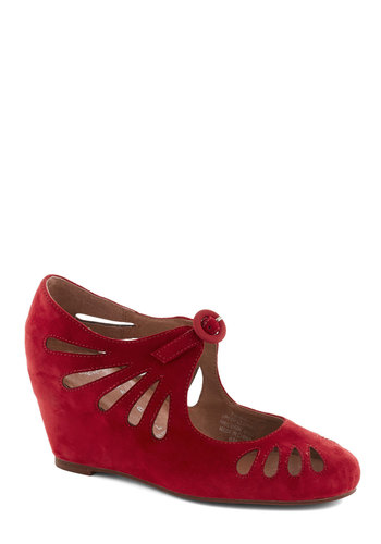 Delightful Droplets Wedge in Cherry by Jeffrey Campbell - Red, Solid, Cutout, Suede, Wedge, Mid, Party, Work, Vintage Inspired, Leather, Variation