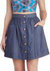 Countdown to Casual Skirt - Short, Cotton, Blue, Solid, Buttons, Pockets, A-line, Casual, Exclusives, 90s, Blue
