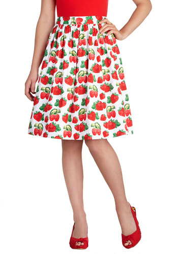 Fresh for the Pickin' Skirt - Mid-length, Cotton, Red, Green, Novelty Print, Daytime Party, Vintage Inspired, 50s, Fruits, A-line, Fit & Flare, White, Pockets, Spring, Summer