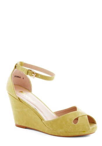 Pretty Possibilities Wedge in Custard - Mid, Yellow, Solid, Cutout, Wedding, Daytime Party, Bridesmaid, Platform, Wedge, Peep Toe