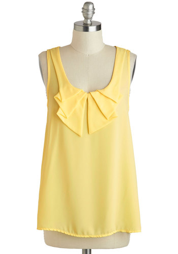 Sheer Genius Top - Sheer, Mid-length, Yellow, Solid, Sleeveless, Ruffles, Casual, Daytime Party, Pastel, Scoop, Summer