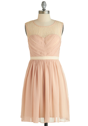 Before the Birds Dress - Mid-length, Pink, Tan / Cream, Lace, Party, A-line, Sleeveless, Scoop, Exclusives, Wedding, Bridesmaid