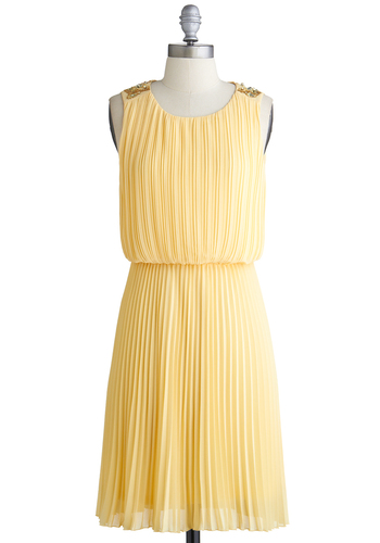 Touch of Timeless Dress - International Designer, Mid-length, Yellow, Solid, Beads, Pleats, Rhinestones, Cocktail, A-line, Sleeveless, Scoop, Exclusives