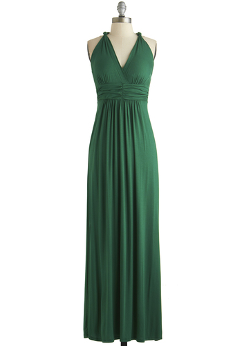 Green Your City Dress - Long, Green, Solid, Ruching, Casual, Maxi, Racerback, V Neck, Exclusives, Basic, Fall